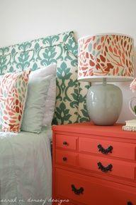 coral bedroom color schemes | Bedroom. Color scheme coral and blue.
