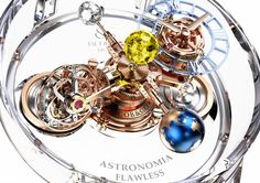 Based on the well-known Astronomia Gravitational Triple Axis Tourbillon watch with sun, moon and Earth globes, the newest Jacob & Co. piece is fully updated with a sapphire case for transparent viewing from all sides of the complicated movement.