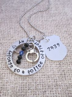 My heart belongs to a police officer- hand stamped jewelry- necklace-personalized- police jewelry- police officer-police wife-Thin blue line by ChristinesImpression on Etsy