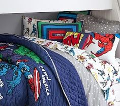 Inspire action-packed dreams with this beautifully quilted Marvel Quilt. Your little hero's favorite characters – Iron Man, the Hulk, Captain America, Thor and Black Panther – spring out of the comic book and onto their bedding w… Marvel Bedding, Marvel Bedroom, Marvel Kids, Marvel Heroes, Marvel Characters, Space Saving Beds, Quilt Bedding, Pottery Barn Kids, Kids Bedroom