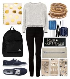 """""""Back to School Outfit: Cold Weather"""" by kdfashiondesigner ❤ liked on Polyvore featuring T By Alexander Wang, Topshop, Vans, Quiksilver, Sugar Paper, Chan Luu, Casetify, Thomaspaul, Essie and Lord & Berry"""