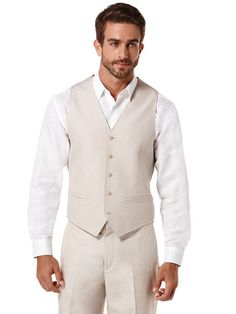 Cotton Linen Herringbone Vest from Cubavera- LOVE THIS LOOK!