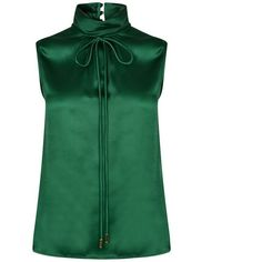 Dsquared2 Tie Neck Blouse ($250) ❤ liked on Polyvore featuring tops, blouses, green, silk tie neck blouse, silk neckties, necktie blouse, shirred top and tie-neck blouses
