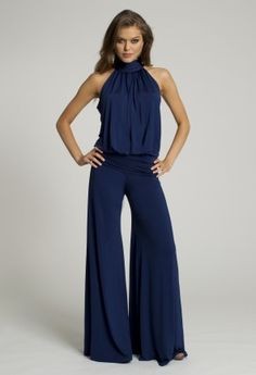 Dressy Tops - Mock Neck Blue Jumpsuit from Camille La Vie and Group USA