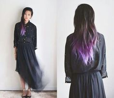 Dark brown hair with light purple ombre.