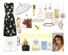 """💛Hello April💛"" by emilyg-5 ❤ liked on Polyvore featuring ShedRain, Guerlain, Humble Chic, Impulse, Holly Ryan, Marc Jacobs, Casetify, Olivia Burton, Charlotte Olympia and Roberto Coin"