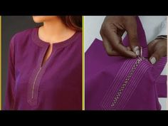 In this video I show you unique and creative neckline cutting and stitching. Neck Designs For Suits, Back Neck Designs, Dress Neck Designs, Collar Kurti, Kurti Neck, Colar Fashion, Diy Fashion, Indian Fashion, Kurta Designs