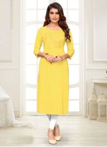 Shop online for party wear kurti and designer kurti. Buy this rayon embroidered work yellow party wear kurti. Ethnic Fashion, Indian Fashion, India Shopping, Celebrity Gowns, Kurti Collection, Blue Party, Traditional Sarees, Yellow Fashion, Girls In Leggings