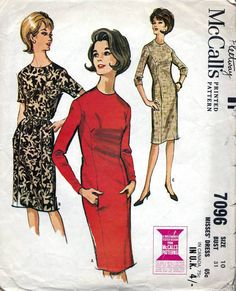 60s McCalls dress sewing patterns, 7096, Bust 31 inches, long or short sleeves, knee length panel dress.  Slim, five-panel dress has choice of two
