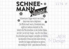 Sprüche & Slogans - Textstempel SCHNEEMANN-SUPPE - ein Designerstück von AEH-Design bei DaWanda
