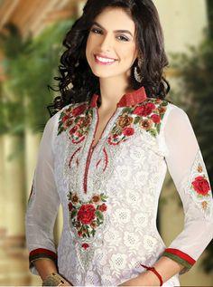 USD 93.15 White Faux Georgette Resham Work Party Wear Salwar Suit 32572