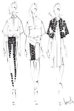 Fashion illustration - Spring collection outfit drawings; fashion sketches // Brandon Sun:
