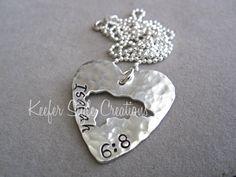 Honduras Hand Stamped Heart Necklace by KeeferStyleCreations, $58.00