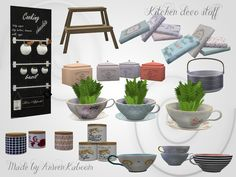 Set contains 12 items: Chalkboard with three poles made to fit it, cups, plant, end table, containers, bowl and books. Found in TSR Category 'Sims 4 Decorative Sets'