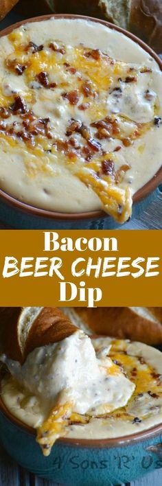 Bacon Beer Cheese Dip – 4 Sons 'R' Us Beer, Bacon, and Cheese are standard fare at almost any viewing party, but get your game faces on and get in the zone with this epic Bacon Beer Cheese Dip that combines them all into one fantastic appetizer. Yummy Appetizers, Appetizer Recipes, Snack Recipes, Cooking Recipes, Bacon Recipes, Tailgate Appetizers, Cheese Appetizers, Cooking Tips, Salad Recipes