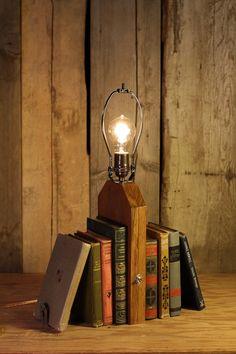 Handmade Reclaimed Wood Bookshelf Lamp