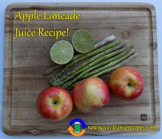 Try this tasty nutrient dense Apple Limeade Juice Recipe! Asparagus contains lots of protein, while apples contain plenty of antioxidants that are a good for a spread of health benefits such as skin health, lung health, anti-cancer, and more!   #rawjuicecleanserecipes #juicing #juicerecipes #juicingrecipes