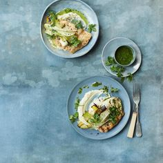 Pan fried haddock with charred leeks, celeriac mash and parsley sauce, a delicious recipe from the new M&S app.
