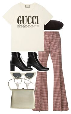 """Untitled #11599"" by nikka-phillips ❤ liked on Polyvore featuring Yves Saint Laurent, Gucci and Le Specs"