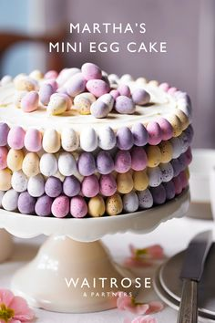 Sandwiched with creamy white chocolate buttercream and decorated with pastel swathes of mini eggs, Martha Collison's recipe is a true showstopper. Tap to see the full Waitrose recipe. Mini Eggs Cake Recipes, Easter Recipes, Cupcake Recipes, Baking Recipes, Cupcake Cakes, Dessert Recipes, Cupcakes, Easter Treats, Easter Cake