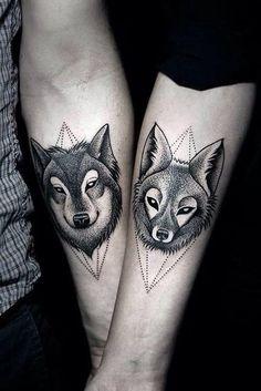 Wolf & Fox couple tattoo / 55 Wolf Tattoo Designs | Cuded