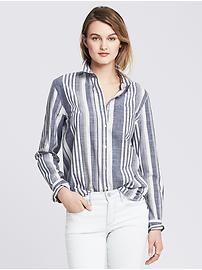 Soft-Wash Multi-Stripe Boyfriend Shirt