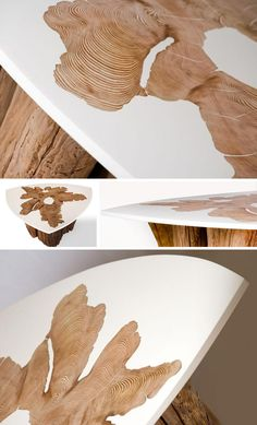 tree trunk and resin tables