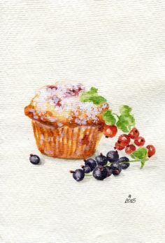 Currant Muffin Miniature Painting Still Life от ForestSpiritArt