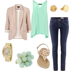 """Chic Mint and Nude Outfit"" by natihasi on Polyvore -- I might leave out the blazer and try a cardigan instead.."