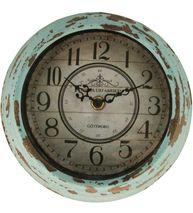Liten gammaldags klocka för väggen turkos väggklocka i shabby chic lantlig stil