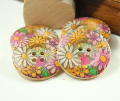 Wood Buttons - Classy Broad Border Recessed Center Colorful Daisy Pattern Wooden Buttons, 1.18 inch (6 in a set) on Etsy, $3.00