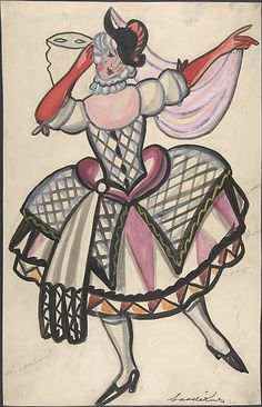 Sergey Sudeykin (Russian, 1882–1946). Woman in a harlequin costume holding a mask, first half 20th century. The Metropolitan Museum of Art, New York. Gift of William S. Wasserman, 1965 (65.715.7)