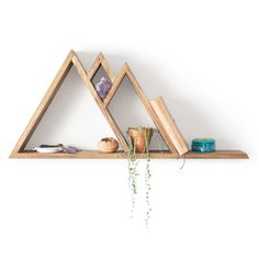 Mountain Triangle Shelf - Perfect Geometric Shelves for your Home Crystal Shelves, Picture Shelves, Shelves, Geometric Shelves, Triangle Shelf, Glass Shelves Kitchen, Metal Shelves, Wine Glass Shelf, Glass Shelves Decor