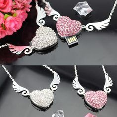 Angel Heart Jewelry Memoria USB Flash Drive 64GB USB 2.0 Pen Drive 2TB 1TB Mini Usb Memory Stick Pendrive 8GB 16GB 32GB Gift