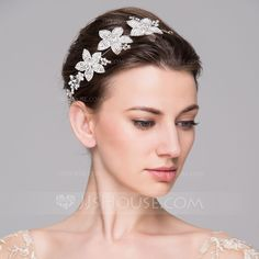 Headbands Wedding Special Occasion Casual Party Alloy Silver Plated Czech Stones 11.02