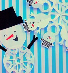 Paper Snowman Snowflake Patterns   Make paper snowflakes in the shape of snowmen with this fun Christmas craft for kids.