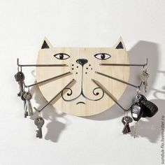 Items similar to Original Wood Key Holder Big Cat with Iron Moustache on Etsy - You are in the right place about diy crafts Here we offer you the most beautiful pictures about th - Wooden Projects, Wooden Crafts, Wooden Diy, Cat Crafts, Diy Home Crafts, Wooden Key Holder, Scroll Saw, Wood Toys, Home Decor Furniture