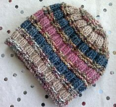 Easy Ribs And Stripes Hat By Christine Roy - Free Knitting Pattern - (ravelry)