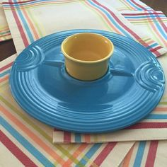 Fiesta® Peacock Hostess Tray And Sunflower Ramekin, both made by Homer Laughlin China Company | WorthPoint