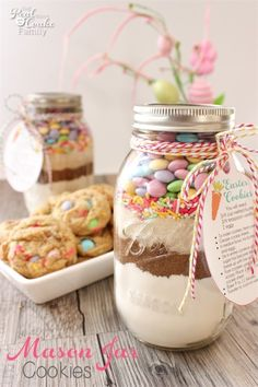 OM to the Cuteness! This M&M Cookie Recipe in a Mason Jar is so cute and the cookies are so delicious. These are fun, unexpected Easter gifts for friends or family or my family.