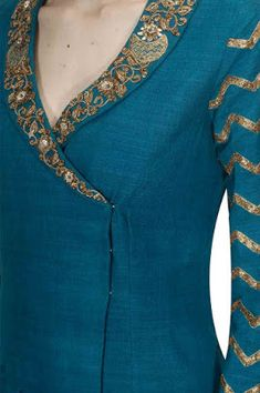 Designer Kurtis for Women in Fashion 2019 - Kurti BlouseDetailing with embroidery and buttons Churidar Neck Designs, Kurta Neck Design, Salwar Designs, Kurta Designs Women, Kurti Designs Party Wear, Latest Kurti Designs, Neck Designs For Suits, Neckline Designs, Designs For Dresses