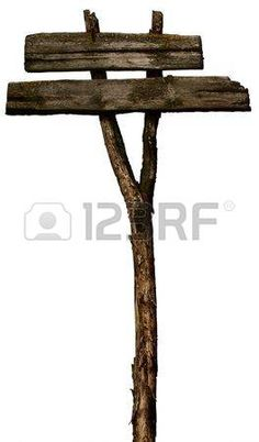 Old Wooden Blank signpost Isolated on White Stock Photo
