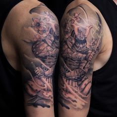 Japanese Samurai tattooed by Cysen. #torontotattoos #goldenirontattoostudio #samurai #cherryblossom #windbars #detailedtattoos #awardwinningartist #asiantraditionaltattoos #japaneseart #blackandgreytattoos #dopeink #tattooed #bodyart #ink_mag #tattoocollective #tattooer #japanesecollective #chinesearttattoo #skinart #inkjunkeyz #inkaddict