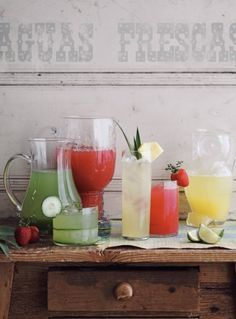 Flavored Water Bar- lovely for a hot day, and those who want to can always spike them with a little vodka