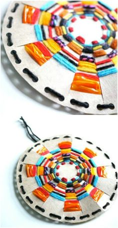 """Create a """"woven sun"""" out of a cereal box."""