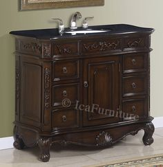 40 inch Single Bath Vanity with Black Granite Top -  1140