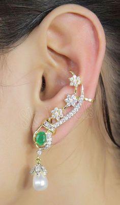 2.40ctw ROUND DIAMOND EMERALD & PEARL 14K WHITE GOLD WEDDING ANNIVERSARY EARRING #Sk_Jewels #DropDangle