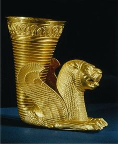 Achmaenid Persian Rhyton (Drinking Vessel) Achaemenid. 5th - 3rd centuries BCE. gold. Archaeological Museum, Tehran, Iran.