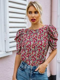 Ditsy Floral, Floral Tops, Floral Prints, Jw Moda, Summer Blouses, Lace Insert, Types Of Sleeves, Blouses For Women, Cute Outfits