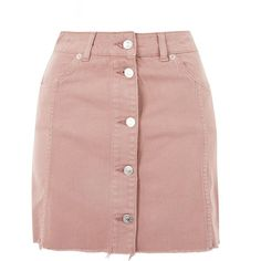 Topshop Moto Button Up Denim Mini Skirt (145 PLN) ❤ liked on Polyvore featuring skirts, mini skirts, saias, bottoms, topshop, dusty pink, denim mini skirt, short denim skirts, mini skirt and pink denim skirt